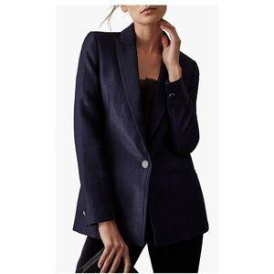 NEW Reiss Elle Metallic Jacket in Navy size 2